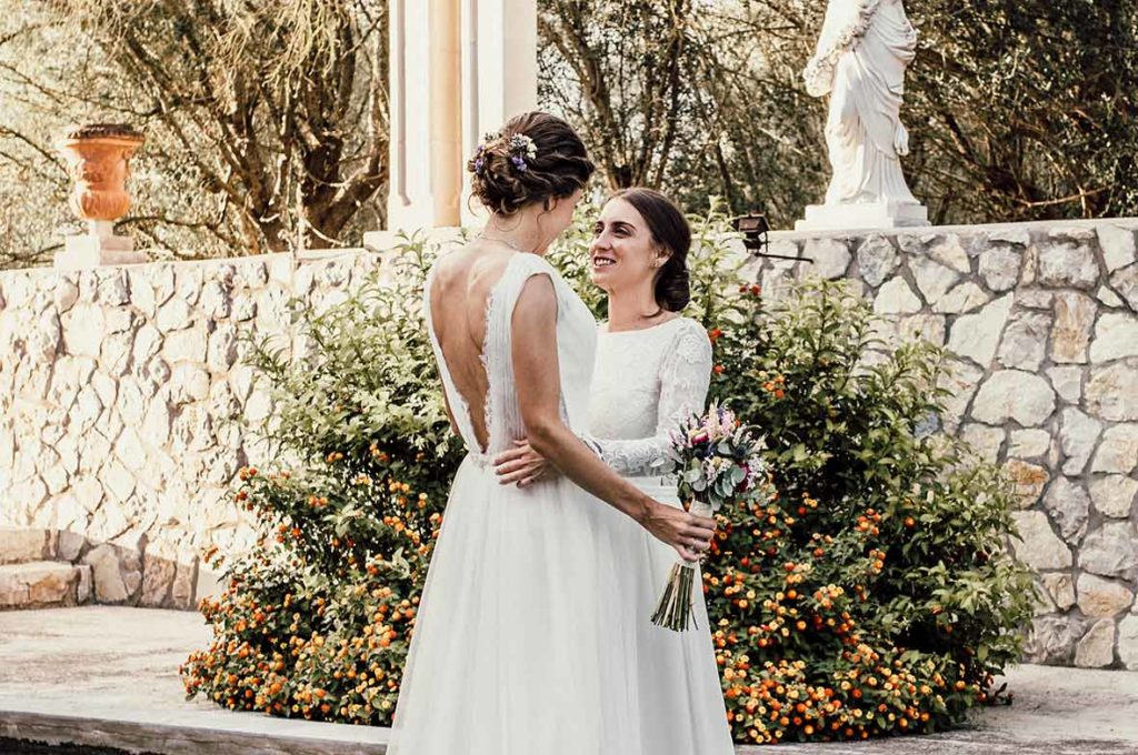 lgbt wedding in mallorca happy brides